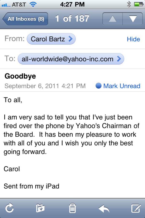 Carol Bartz Fired - Memo